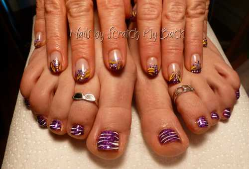 Photo gallery scratch my back nail studio nail salon ajax gel nails and rockstar toes with hand painted nail art on both prinsesfo Choice Image